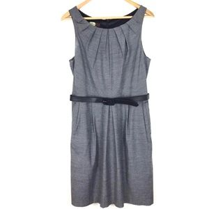 Eva Franco Dress Sheath with Belt Size 10 Gray